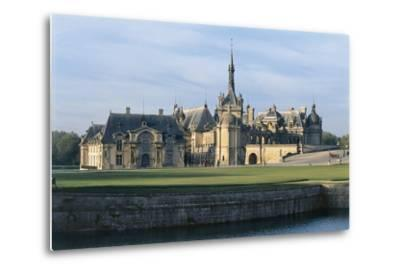 Facade of a Castle, Chateau De Chantilly, Picardy, France--Metal Print