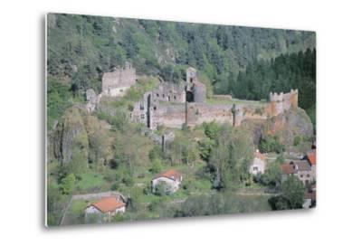 Old Ruins of a Castle, Arlempdes Castle, Auvergne, France--Metal Print