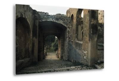 View of Caetani Castle, 13th Century, Sermoneta, Lazio, Italy--Metal Print