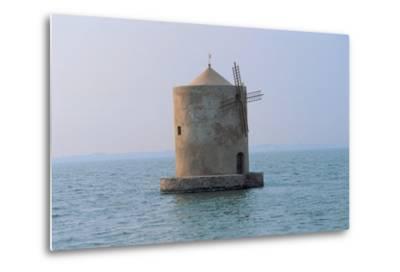 Windmill in the Sea, Orbetello Lagoon, Tuscany, Italy--Metal Print