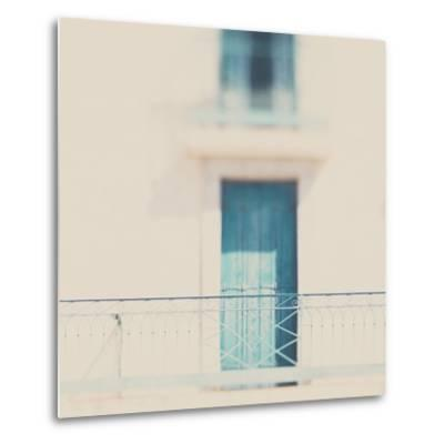 French Building with Balcony and Blue Door-Laura Evans-Metal Print