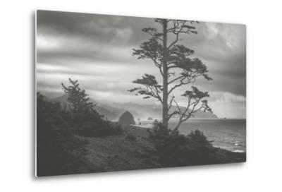 Moody Cannon Beach, Black and White, Oregon Coast-Vincent James-Metal Print