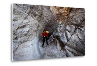 Pasadena, California: A Canyoneer Rappels a Dried Up Waterfall-Ben Horton-Metal Print