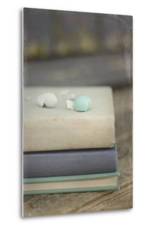 Boken Robin's Egg on Vintage Books-Elizabeth Urqhurt-Metal Print