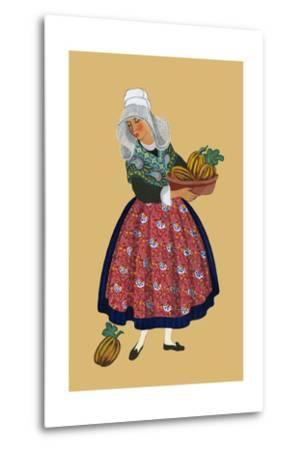 A Young Girl from Champagne Carries Gourds-Elizabeth Whitney Moffat-Metal Print