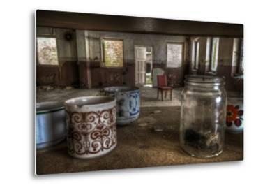 Old Mugs in Abandoned Interior-Nathan Wright-Metal Print
