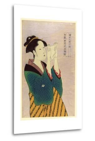 Woman Reading a Letter-Kitagawa Utamaro-Metal Print
