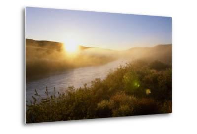 Sunrise Through Fog on the Loup River in the Nebraska Sandhills-Michael Forsberg-Metal Print