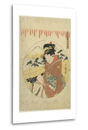 A Lady's Discussion-Kitagawa Utamaro-Metal Print