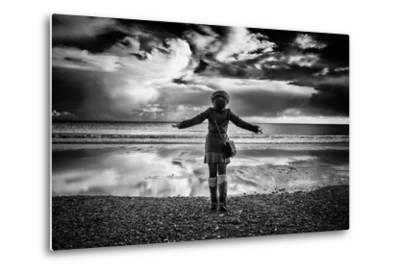 Young Girl Standing on a Beach-Rory Garforth-Metal Print