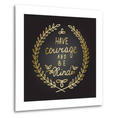 Inspiration Quote in Gold Laurel Leaves Frame-ZenFruitGraphics-Metal Print