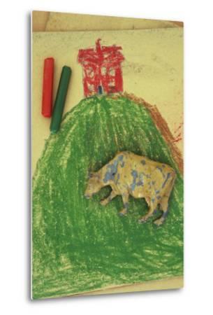 Childs Drawing-Den Reader-Metal Print