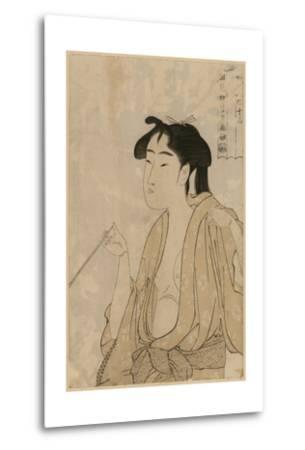 Woman Smoking a Pipe-Kitagawa Utamaro-Metal Print