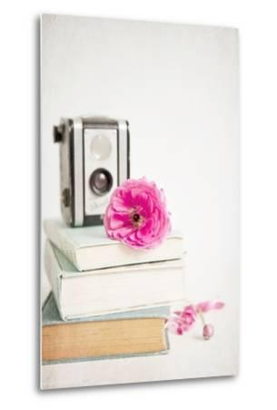 Pink Flower with Books and Camera-Susannah Tucker-Metal Print