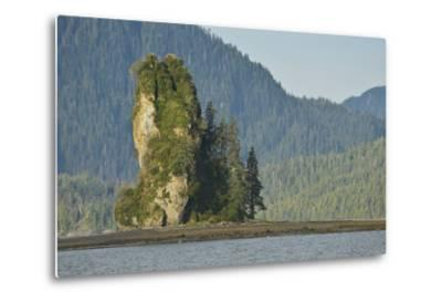 The New Eddystone Rock Formation, Off of a Forested, Mountainous Coast-Jonathan Kingston-Metal Print