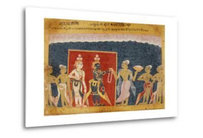Sudama Offers a Garland to Krishna--Metal Print
