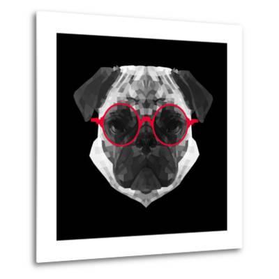 Pug in Red Glasses-Lisa Kroll-Metal Print
