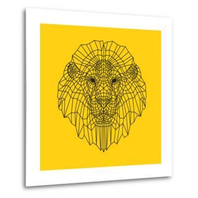 Lion Head Yellow Mesh-Lisa Kroll-Metal Print