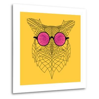 Owl in Pink Glasses-Lisa Kroll-Metal Print