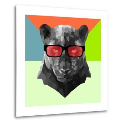 Party Panther in Red Glasses-Lisa Kroll-Metal Print