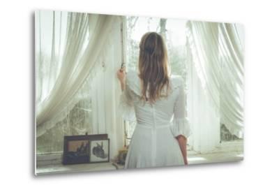 Young Woman Wearing White Dress-Sabine Rosch-Metal Print