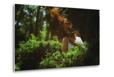 Young Woman with Long Hair-Carolina Hernandez-Metal Print