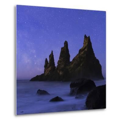 Night Sky and the Milky Way at the Break of Dawn over the Basalt Sea Stacks known as Reynisdrangar-Babak Tafreshi-Metal Print