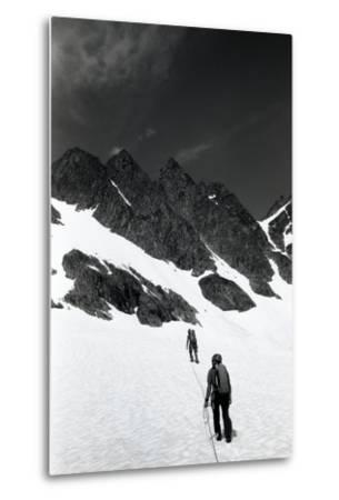 Climbers Ascending a Glacier on a Mountain Near Rogers Pass-Michael Hanson-Metal Print