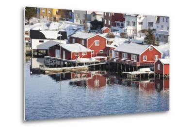 Wooden Cabins at the Waters Edge in the Town of Raine in the Lofoten Islands, Arctic, Norway-David Clapp-Metal Print