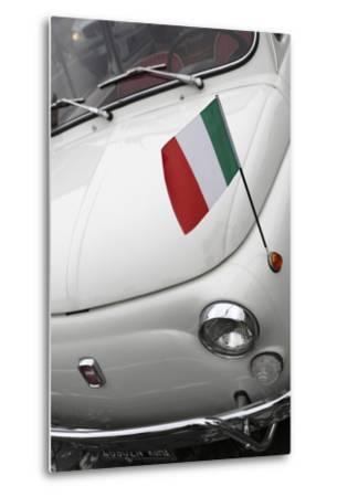 Italian Flag on Fiat 500 Car, Rome, Lazio, Italy, Europe-Stuart Black-Metal Print