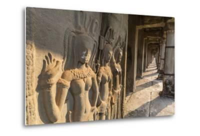 Bas-Relief Carvings of Apsara, Angkor Wat, Angkor, UNESCO World Heritage Site, Siem Reap, Cambodia-Michael Nolan-Metal Print