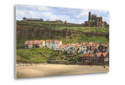 St. Mary's Church and Whitby Abbey Above Tate Hill Beach-Eleanor Scriven-Metal Print