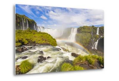 A Rainbow at Iguazu Waterfalls on the Border of Argentina and Brazil in South America-Mike Theiss-Metal Print
