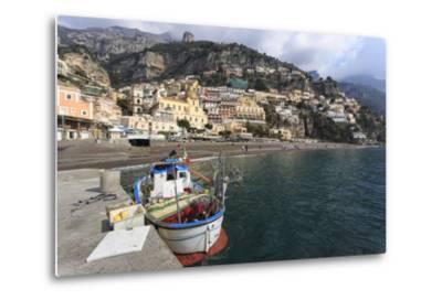 Fishing Boat at Quayside and Positano Town, Costiera Amalfitana (Amalfi Coast), Campania, Italy-Eleanor Scriven-Metal Print
