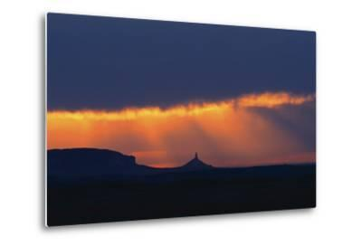 A Thunderstorm Rolls in over Chimney Rock-Michael Forsberg-Metal Print