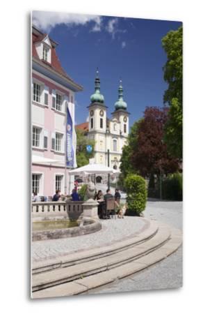Street Cafe, St. Johann Church, Donaueschingen, Black Forest, Baden Wurttemberg, Germany-Markus Lange-Metal Print