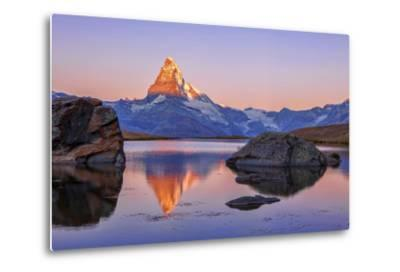 Pink Sky at Sunrise on the Matterhorn Reflected in Stellisee-Roberto Moiola-Metal Print