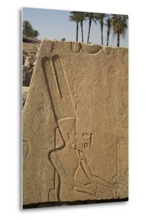 Bas-Relief of the God Amun, Karnak Temple, Luxor, Thebes, Egypt, North Africa, Africa-Richard Maschmeyer-Metal Print