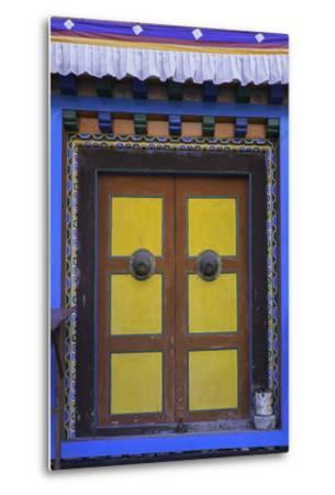 Door at the Buddhist Monastery in Tengboche in the Khumbu Region of Nepal, Asia-John Woodworth-Metal Print