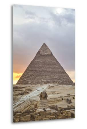 Sunset, Sphinx in Foreground and the Pyramid of Chephren, the Pyramids of Giza-Richard Maschmeyer-Metal Print