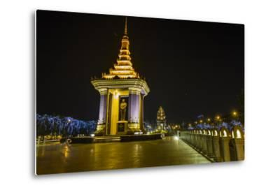 Night Photograph of the Statue of Norodom Sihanouk, Phnom Penh, Cambodia, Indochina-Michael Nolan-Metal Print
