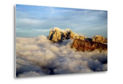 Aerial Shot from Seceda of Odle Surrounded by Clouds at Sunset in the Dolomites-Roberto Moiola-Metal Print