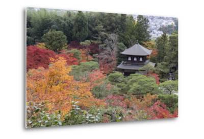 The Silver Pavilion and Gardens in Autumn-Stuart Black-Metal Print