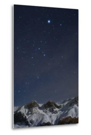Sirius, and the Rest of Constellation Canis Major Above Snow-Covered Peaks of the Alborz Mountains-Babak Tafreshi-Metal Print