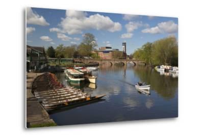 Boats on the River Avon and the Royal Shakespeare Theatre-Stuart Black-Metal Print