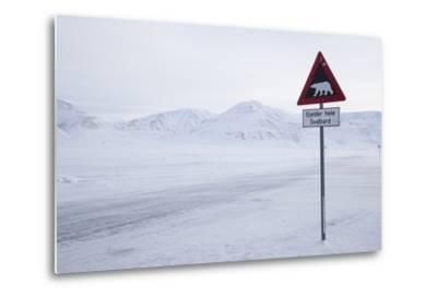 Beware of Polar Bear Traffic Sign on Ice Road-Stephen Studd-Metal Print