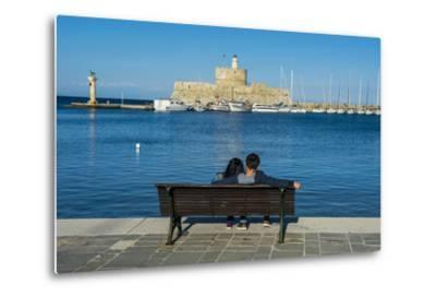 The Old Agios Nikolaos Fortress and Lighthouse in Mandraki Harbour-Michael Runkel-Metal Print