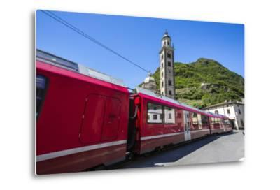 The Bernina Express Train Passes Near the Sanctuary of Madonna Di Tirano, Lombardy, Italy-Roberto Moiola-Metal Print