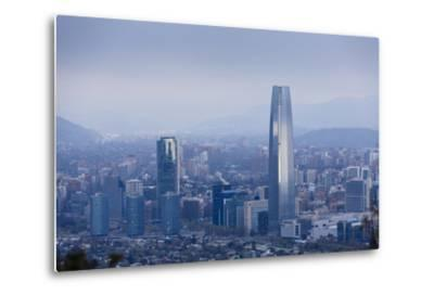 View over the Gran Torre Santiago from Cerro San Cristobal, Santiago, Chile, South America-Yadid Levy-Metal Print