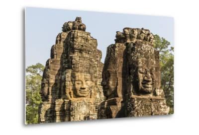 Four-Faced Towers in Prasat Bayon, Angkor Thom, Angkor, Siem Reap, Cambodia-Michael Nolan-Metal Print